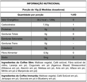 Informação Nutricional HND Coffee Slim e Immunity