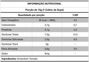 Informação Nutricional Pasta de Amendoim Hinode