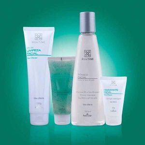 Esfoliante, Tonico, Gel de Limpeza e Hidratante Facial Routine